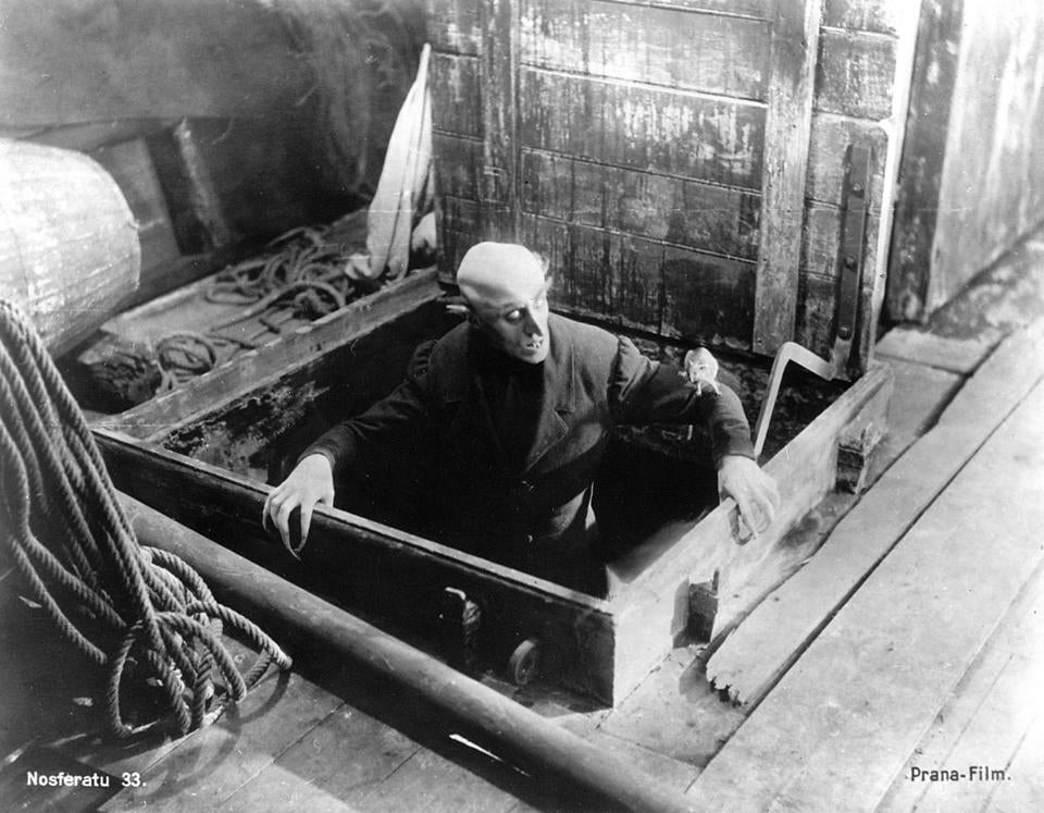 "MAX SCHRECK as Graf Orlok in ""Nosferatu"" [original, full German title ""Nosferatu, eine Symphonie des Grauens""], a 1922 film directed by Franz W. Murnau. PHOTO CREDIT -- Kino International Library Tag 10262006 Calendar 30nosferatu"